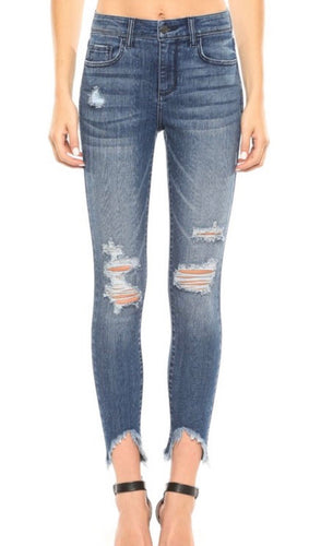 Mid Rise Destroyed Frayed Hem Crop Skinny