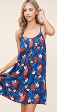 Load image into Gallery viewer, Navy Tropical Print Dress with Caged Back