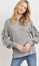 Load image into Gallery viewer, Round Neck Ruffle Sleeve Top