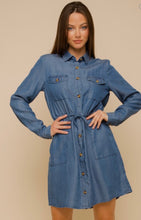 Load image into Gallery viewer, Drawstring Jean Dress