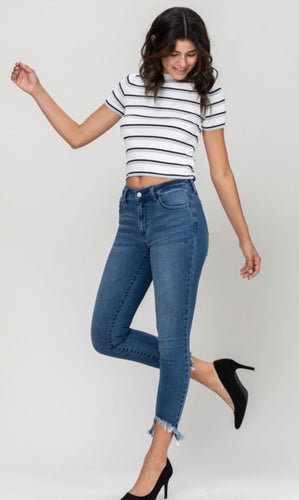 Mid Rise Cut Out Fray Hem Crop Skinny
