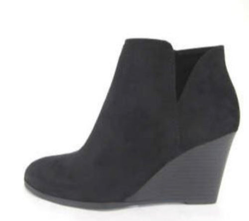 Black V-Cutout Wedge Ankle Booties