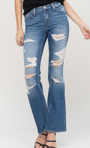 Mid Rise Distressed Boot Cut Denim