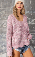 Load image into Gallery viewer, Mauve Chenille V-Neck Sweater