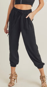 Black Leisure pants with Side Button Detail