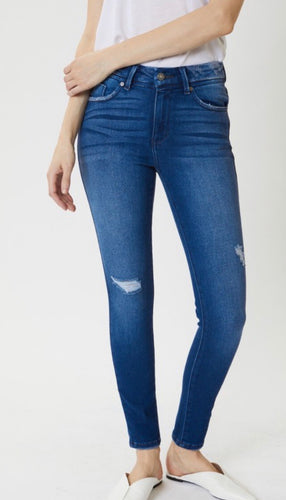 High Rise Distressed Ankle Skinny