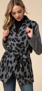 Leopard Print Shawl Collar Jacket