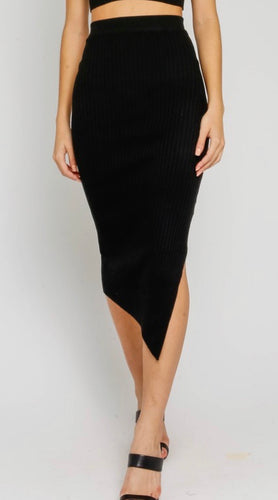 Black Ribbed Midi Skirt
