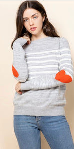 Stripe Sweater with Heart Sleeves