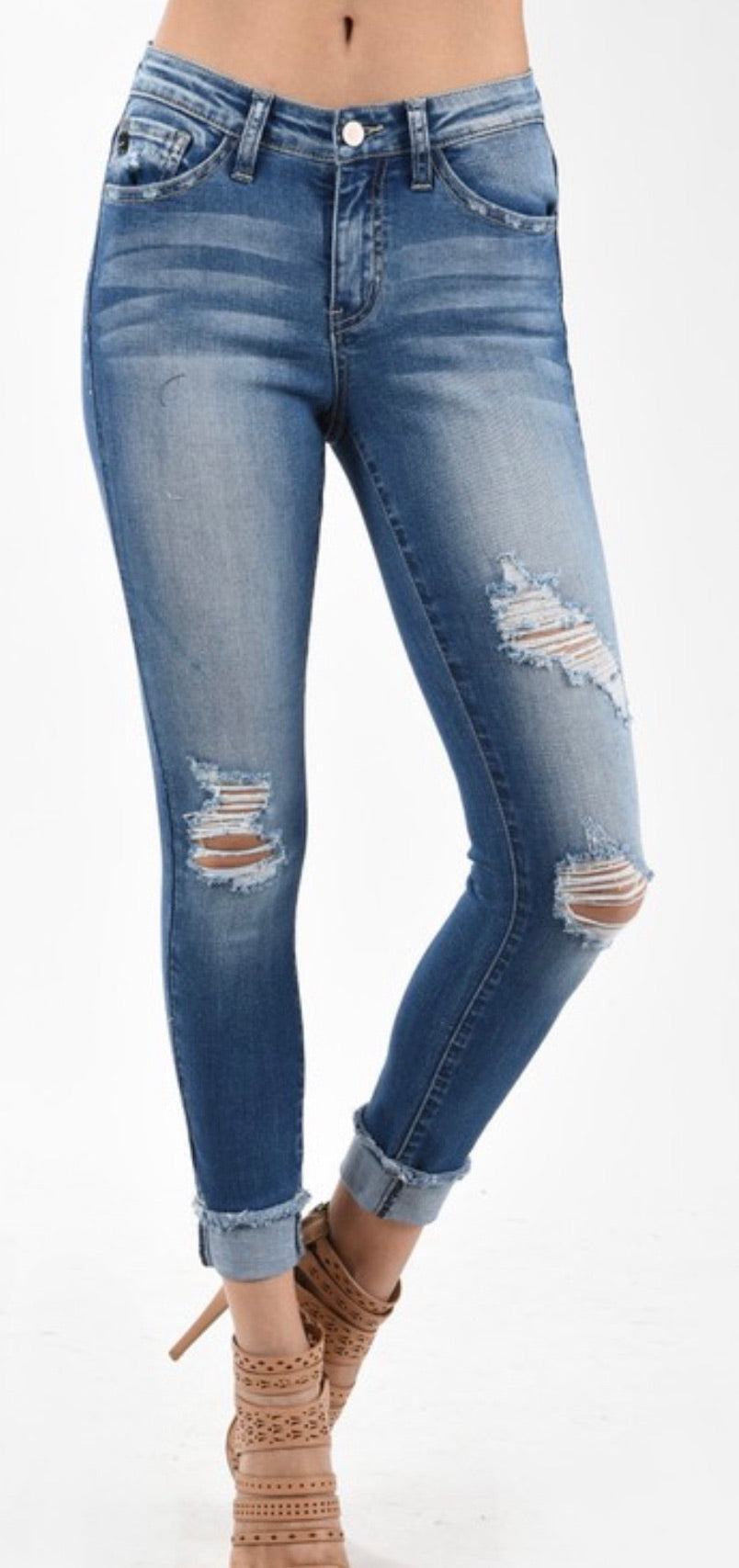 Medium Distressed Mid Rise Jeans