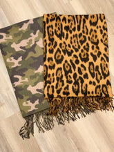 Load image into Gallery viewer, Leopard/Camo Print Oblong Scarf with Fringe