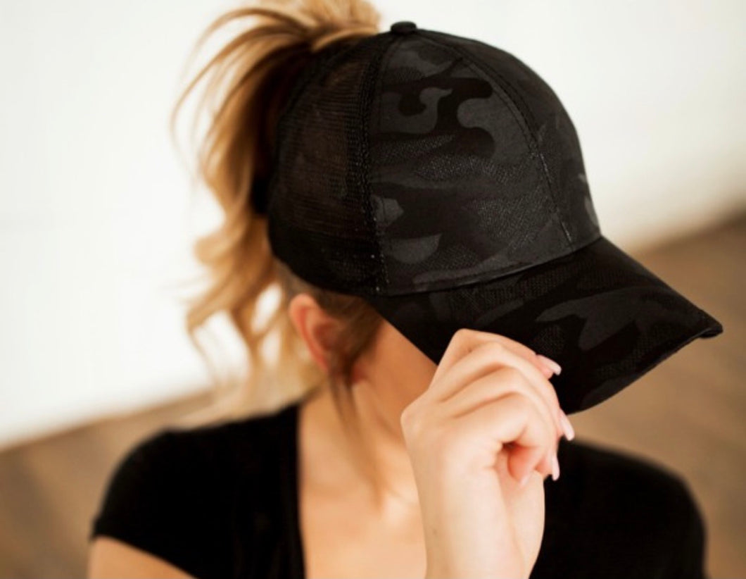 Black Camo Messy Bun Trucker Hat
