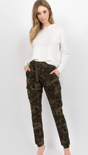 High Waist Cargo Joggers with Belt