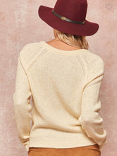 Load image into Gallery viewer, Cream V-Neck Sweater