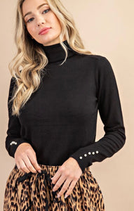 Turtleneck Top with Button Pearl Sleeves