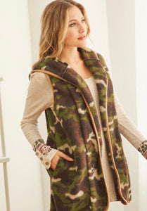 Camo Brushed Vest with Pockets