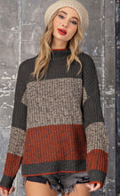 Load image into Gallery viewer, Striped Mock Neck Sweater