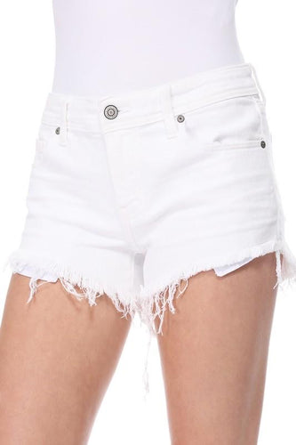 White Pixie Low Rise Cut Off Shorts
