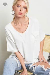 V-Neck Tee with Flare Sleeve and Pocket Detail