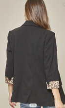 Load image into Gallery viewer, Black Blazer with Leopard Detail