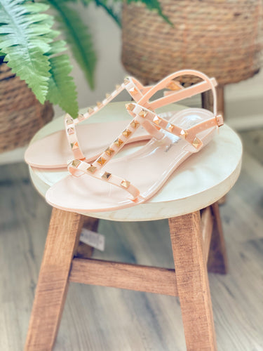 T-Strap Studded Sandals (2 Colors)