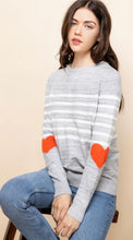 Load image into Gallery viewer, Stripe Sweater with Heart Sleeves