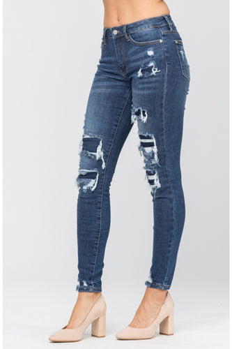 Distressed Patch Mid Rise Skinny Jeans