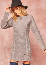 Load image into Gallery viewer, Heather Grey Distressed Sweater Dress