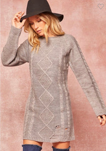 Heather Grey Distressed Sweater Dress