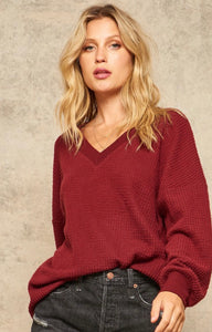 Brushed Waffle Knit V-Neck Top (Two Colors)