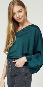 Hunter Green One Shoulder Top