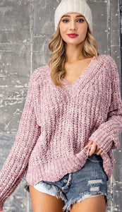 Mauve Chenille V-Neck Sweater
