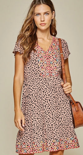 Leopard Print Embroidered Dress