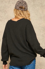 Load image into Gallery viewer, Brushed Waffle Knit V-Neck Top (Two Colors)