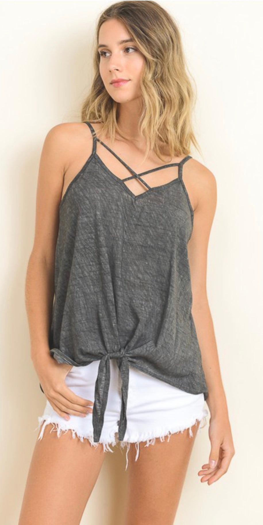 Mineral Washed Criss-Cross Sleeveless Top
