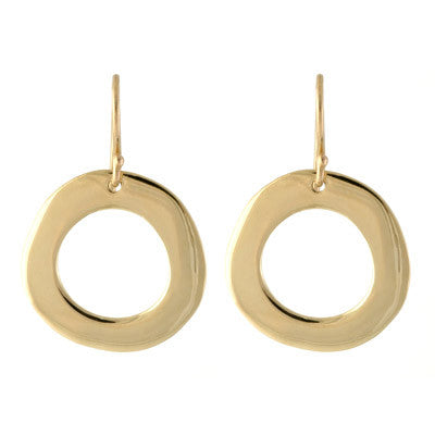 large gold open circle drop earrings