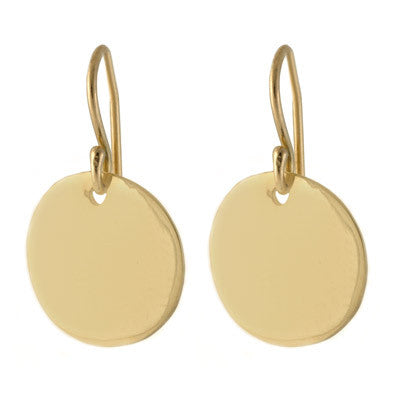 satin yellow gold disk drop earrings