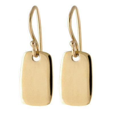 small gold tab drop earrings