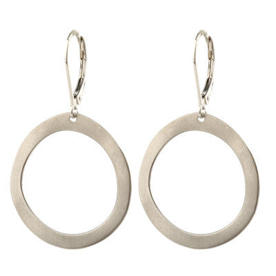 large satin sterling silver open circle drop earrings