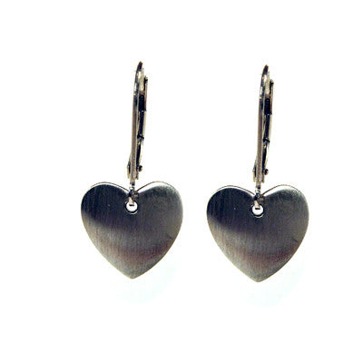satin sterling silver heart drop earrings