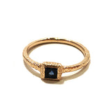 textured yellow gold sapphire ring