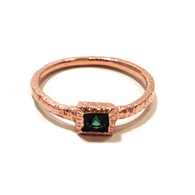 textured rose gold and tourmaline ring