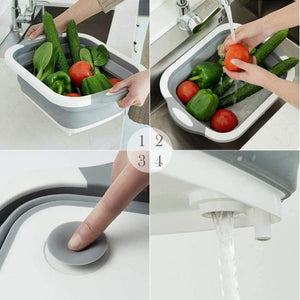 Foldable Cutting Board with Drain Basket