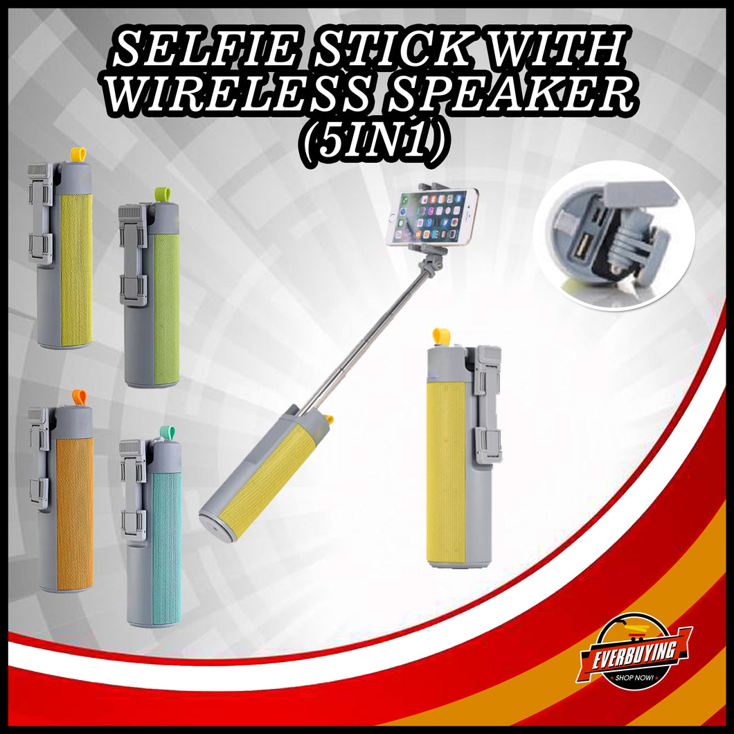 Selfie Stick with Wireless Speaker - (5in1)