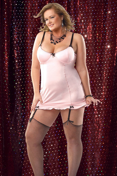 Pink & Black Chemise With Lace-Up Back