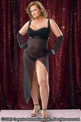 Black Satin & Mesh Gown & G-String
