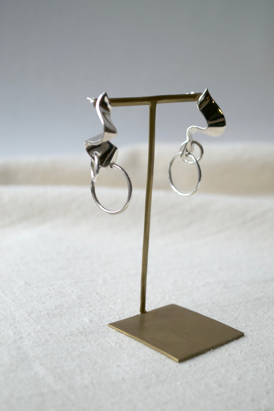Silver Elbe Loop Earrings