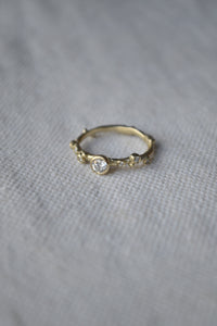 Encrusted Branch Solitaire Ring