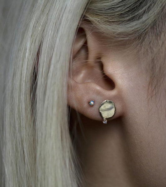 Large Disc Studs with Diamonds