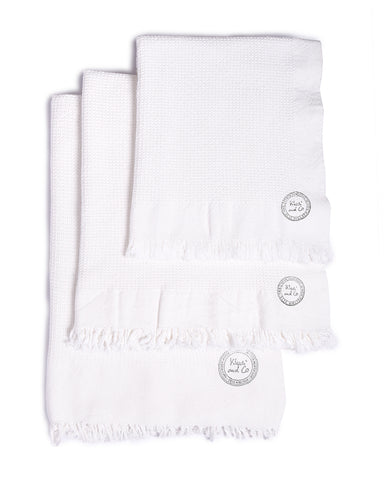 White Cotton Waffle Towels